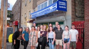 The group at the end of the tour, outside the Salvadoran restaurant